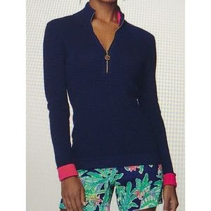 """Lilly Pulitzer """"The Sally"""" Cotton Half Zip XS"""